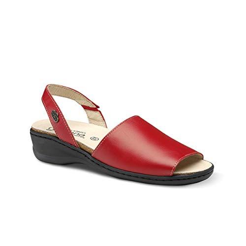 Feliz Caminar - Sandalia Piel Antideslizantes y Cómodas para Hombre y Mujer | Frescas para Vestir en Epocas de Calor Verano Primavera | Modelo Menorquina | Talla 40 | Color Pomodoro