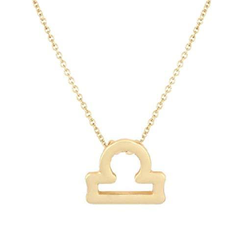 BGPOM Halskette Sommer Zwölf Sternbild Halskette Sternbild Anhänger Karte Schlüsselbein Kette, Waage Gold
