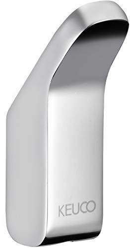 KEUCO Handtuchhaken aus Metall, hochglanz-verchromt, rund, für Badezimmer und Gäste-Toilette, Wandhaken für Handtücher und Bademäntel, Moll