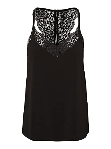 Vero Moda Vmana S/l Lace Top Noos Camisa Cami, Negro, M...