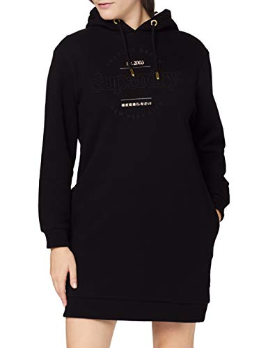 Superdry Womens Established Sweat Casual Dress, Black, XXS