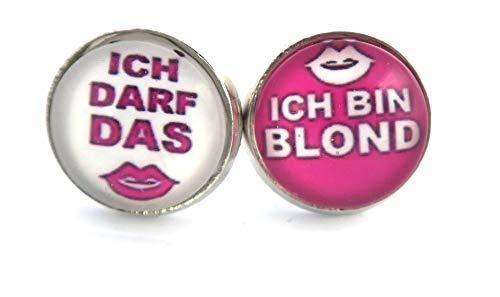 """Damen Ohrstecket Spruch\"""" Ich darf das, ich bin blond\"""" 14mm silber-farben Ohrringe"""