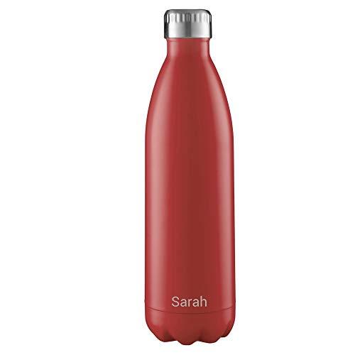 FLSK Isolierflasche MIT Gravur (z.B. Namen) 1000ml Red Rot - Trinkflasche hält 18 Stunden heiß und 24 Stunden kalt - 100% Dicht - Kohlensäurefest