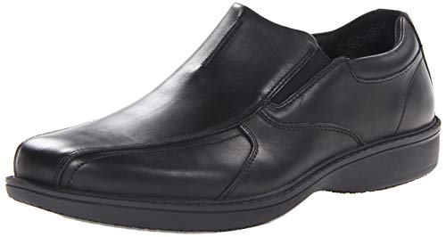 Clarks mens Wader Twin Non-slip Loafer, Black Leather, 9 Wide US