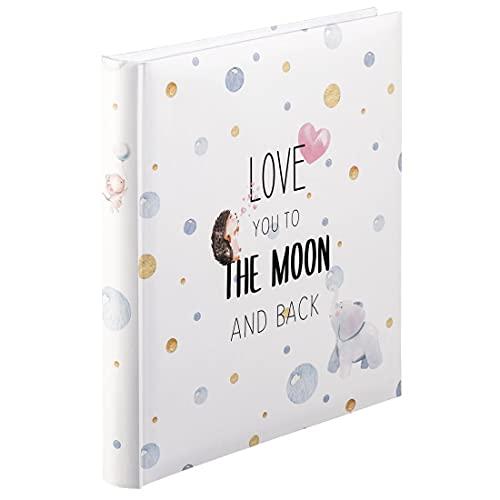 """Hama Babyalbum """"To The Moon"""" (Baby-Fotoalbum mit 60 Seiten für Mädchen und Jungen, Kinder-Fotobuch für ca. 300 Fotos, Photoalbum zum Selbstgestalten und Einkleben mit Motiv, Album-Format 29x32cm) weiß"""