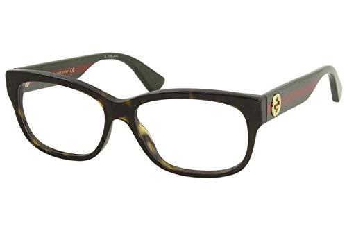Gucci GG 0278O 012 Havana Plastic Rectangle Eyeglasses 55mm
