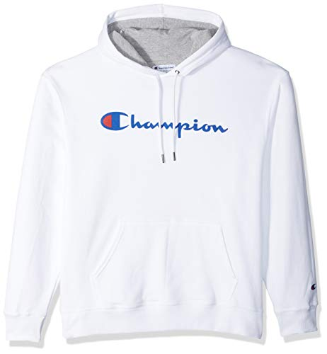 Champion Men's Graphic Powerblend Fleece Pullover Hood, White, Small