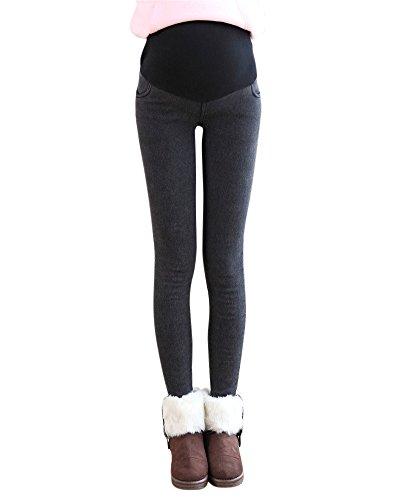 Elegante Dicke Warme Fleece Leggings Hose Schwangerschaftshose Umstandshose Mit Bauchband Schwarz M