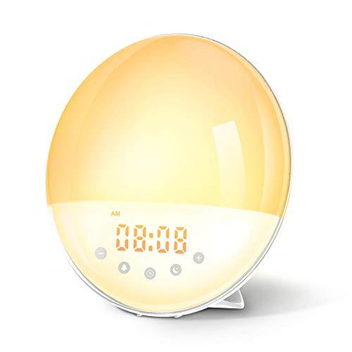 Wake Up Licht Lichtwecker mit Aufnahmefunktion Tageslichtwecker mit 30 Helligkeitsstufe/9 Wecktöne/Sunset&Sunrise/FM-Radio/Schlummerfunktion/16 Volumen Einstellbar für Kinder Erwachsenen (1909a)