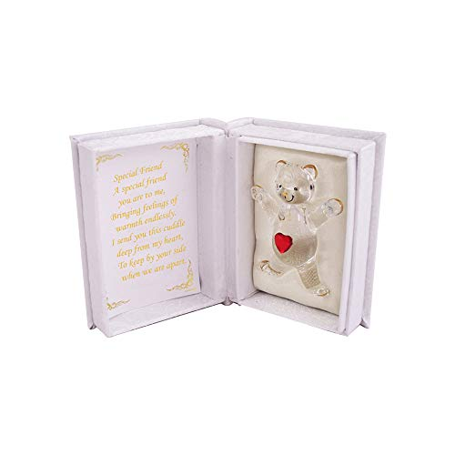 Gift Teddy Bear in Box, Keepsake, Heart Glass Love Ornament with Poem (Special Friend)