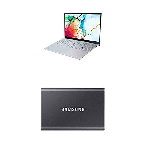 Samsung Galaxy Book ION 39,62 cm (15,6 Zoll) Notebook (Intel Core i5-10210U, 8 GB RAM, 256 GB SSD, Windows 10 Home) aura silver + T7 Portable SSD - 500 GB - USB 3.2 Gen.2 Externe SSD