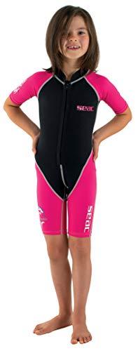 Seac Unisex-Youth Dolphin Tauchanzug Shorty für Kinder aus 1,5 mm Neopren und Lycra geeignet für Schwimmen, Schnorcheln und Wasserspiele, Fuchsie/Schwarz, 5 Jahre