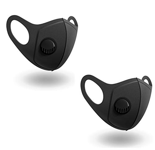 2 Pack Sponge Face Cover with Breathing Valve, Washable, Reusable, Face Cover – Protection from Dust, Pollen, Black