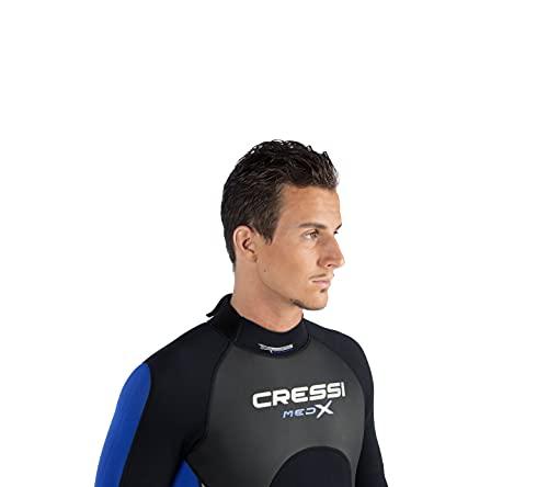 Cressi Med X Man, Muta Shorty in Neoprene Bifoderato 2.5 mm High Stretch Uomo, Nero/Blu/Silver, L/4