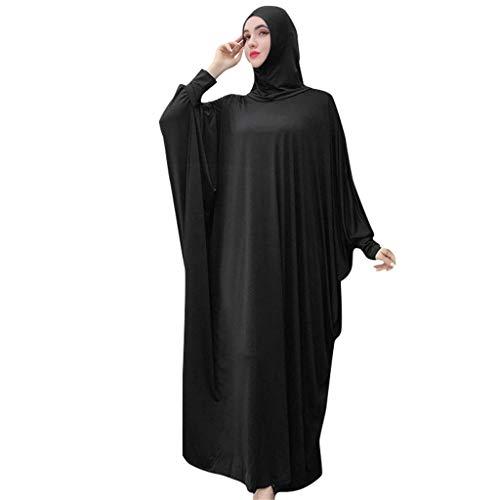 Lazzboy Muslim Frauen Einfarbig Kopfbedeckungen Moschee Fledermaus ärmel Strickjacke Ramadan Kleid Ethnische Roben Damen Sommer Muslimische Kleider Spitze Getrimmt Vorne Abaya Maxi Kaftan(Schwarz)