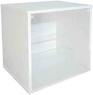 透明ひな段+透明トビラ コレクションケース ホワイト 29.5x34.5x34.5cm アクリル扉 フィギュアケース ホワイト
