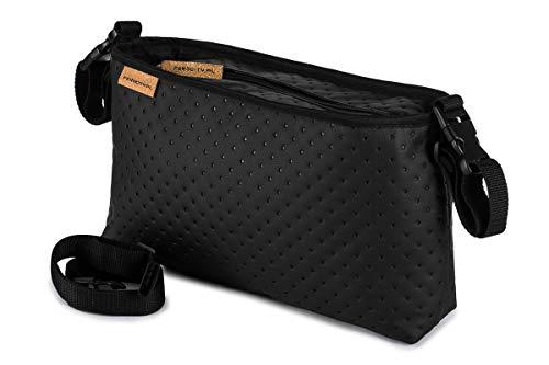 Buggy Organiser Kinderwagen Organizer Tasche passend alle Kinderwägen Leder schwarze Punkte Leather Dots [075]