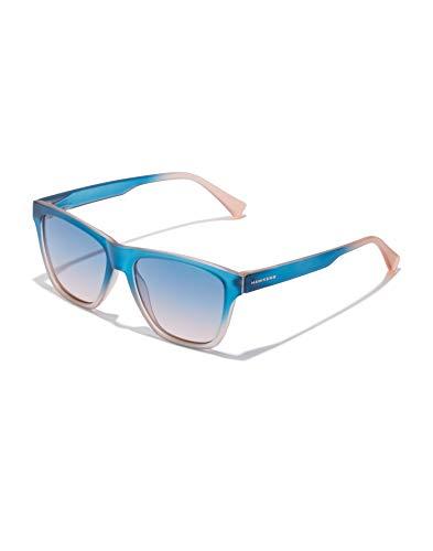 HAWKERS Gafas de Sol LS Sunrise, para Hombre y Mujer, con montura translúcida bicolor azul a rosa claro y lentes degradadas, Protección UV400, One Size Unisex adulto