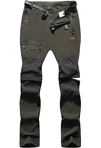 BenBoy Pantaloni Trekking Uomo Impermeabili Pantaloni da Lavoro Zip off Convertibile Pantaloncini Traspirante Asciugatura Rapida Leggero Pantaloni da Montagna Caccia KZ2346M-Army Green-S