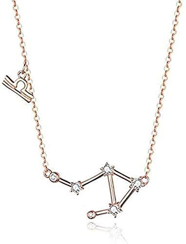huangshuhua Collar Mujeres Hombres Doce Constelaciones Collar de Cristal Collares Pendientes Mujeres Joyería de Boda Plata 925 5 Regalo