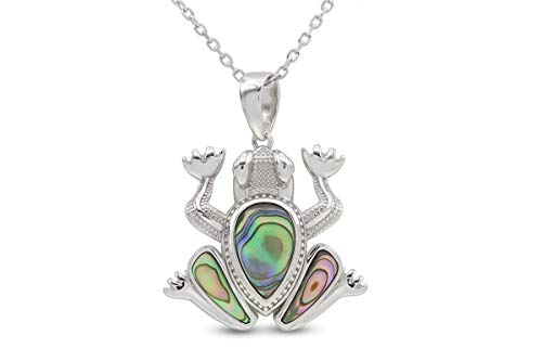 (20% OFF) 14K Abalone Shell White Gold Over Sterling Silver Pendant Frog Necklace $35.20 Deal