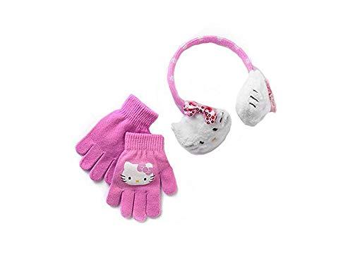 Hello Kitty Girls Plush Ear Muff & Gloves Set- One Size White