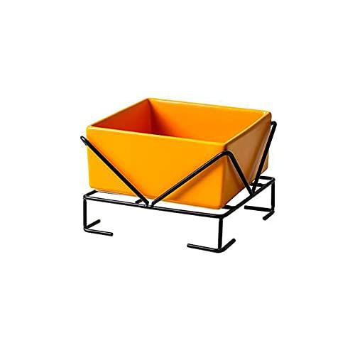 Cuenco de cerámica para Gatos, Cuenco para Perros con Soporte, Antideslizante y fácil de Limpiar, Amarillo