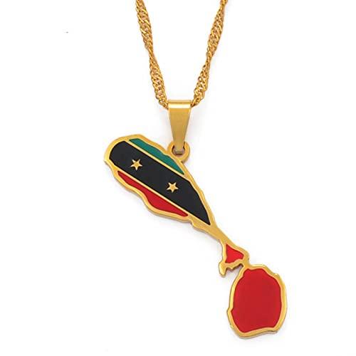 Ucjhxfr - Collar con colgante de la bandera de San Cristóbal y Nevis Map Chain, número de joya 103821