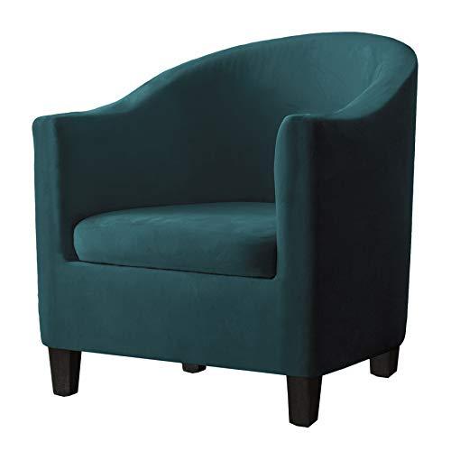 SHENGYIJING 2 Piezas Terciopelo Funda de Sillón Chesterfield Elasticas,Cubre Sofá Chester 1 Plaza Lavables,Fundas de Butacas de Salón Burdeos,Funda de sofá(Verde azulado)