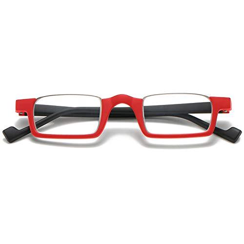 KOOSUFA Lesebrille Halbrandbrille Damen Herren Retro Rechteckige Federscharnier Ultraleicht Lesehilfe Sehhilfe Anti Müdigkeit Brille mit Stärke 1,0 1,5 2,0 2,5 3,0 3,5 (1x Rot, 1.5)