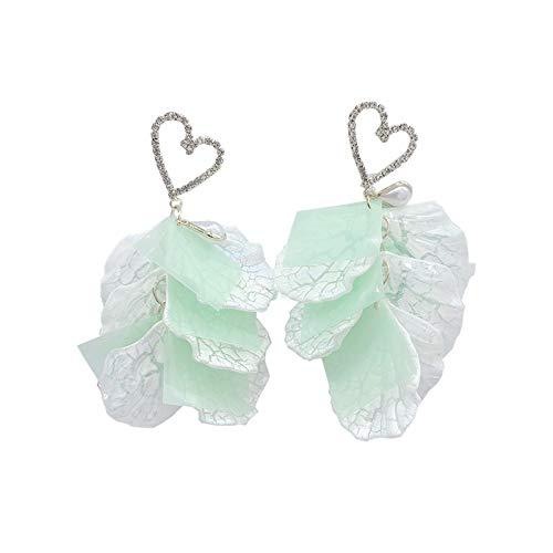 Pendientes de botón de moda de aguja de plata 925 Pendientes de temperamento de pétalo de diamante en forma de corazón de todo fósforo