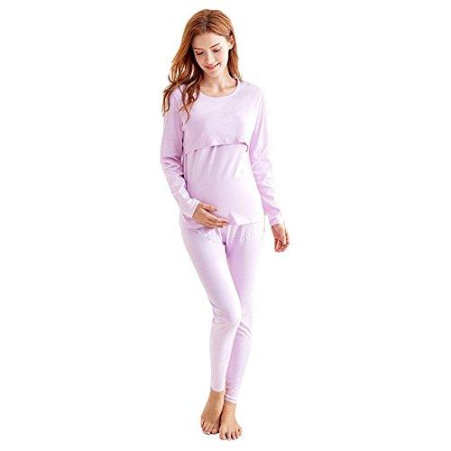 Frauen-Still-Pyjamas Set Crew Neck Langarm Stillen Nachtwäsche Zweiteilig Hausanzug Top Jumper