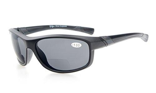 Eyekepper Fashion Sports Bifokale Sonnenbrille TR90 Unzerbrechliche Outdoor-Reader Baseball Laufen Angeln Fahren Golf Softball Wandern Mattschwarzer Rahmen Graue Linse +2.25