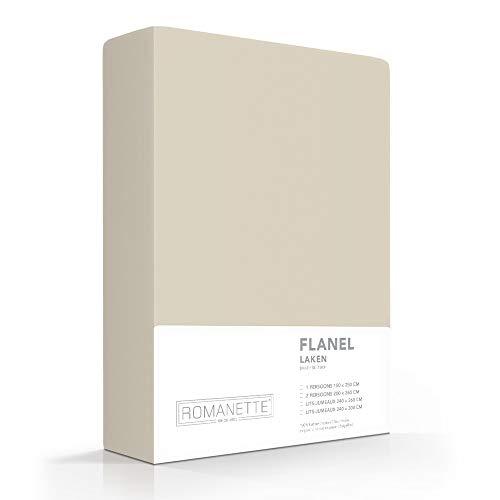 Romanette Laken Flanel beige, 100% katoen 1-persoons laken 150x250