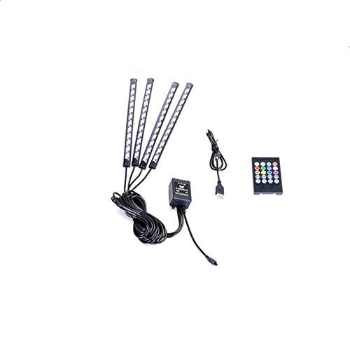 HAIHAOYF Coche Interior Luz, RGB LED LED Tira de luz Decorativa, múltiples Modos Coche Pie Light (Color : 48LED USB Remote)