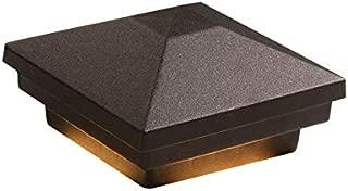 DEKOR LED Pyramid Post Cap Lights for Decks Fences Docks Porches Low Voltage Lighting NOT Solar (Oil Rubbed Bronze, 6