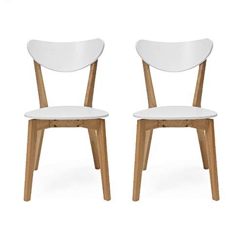Homely - Pack de 2 sillas de Comedor de diseño nórdico MELAKA Madera de Roble y Lacado Blanco Mate