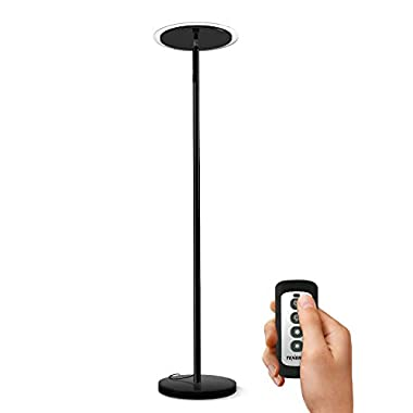 Tenergy Torchiere Dimmable LED Floor Lamp, Remote Controlled 30W (150W Equivalent) Standing Lamp with Stepless Touch Dimmer, Two-Part Trip-Proof Cable, 90° Adjustable Top, Warm White Light