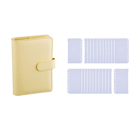 Antner A6 PU Leather Notebook Binder (Yellow) Bundle   24 Pieces A6 Size Binder Pockets
