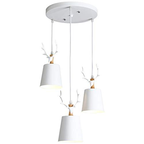 Jambala Geweih-Lampe, Nordischer Restaurant-Kronleuchter, drei einfache moderne Esszimmerlampen (Farbe: Weiß)
