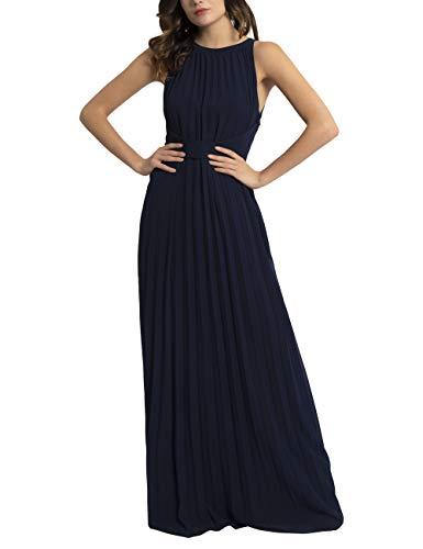 APART Elegantes Damen Kleid, Abendkleid, plissierter Chiffon, lockeres Taillenband, klassischer Schnitt, Nachtblau, 46