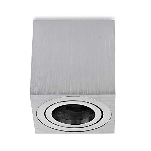 sweet-led Aufbauleuchte Aufbaustrahler Deckenleuchte Aufputz mit GU10 Fassung 230V Alu-gebüstet schwenkbar Deckenleuchte Strahler Deckenlampe Aufbau-lampe Downlight aus Aluminium (Eckig-Silber-alu)