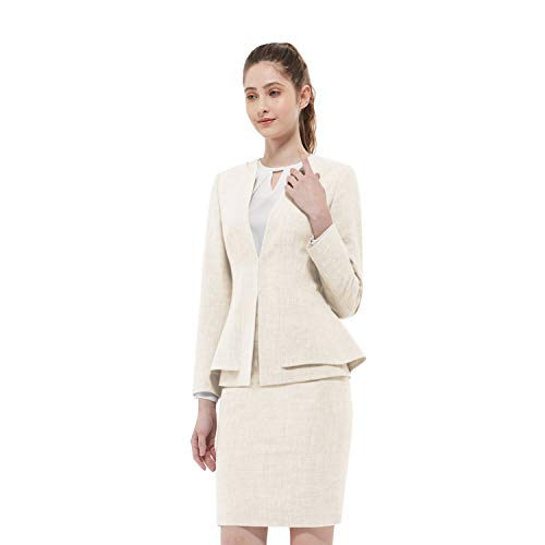 Women Business Suit Set for Office Lady Two Pieces Slim Work Blazer & Skirt (Wheat, 00)