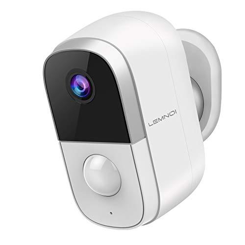 1080P Akku Überwachungskamera Aussen/Innen WLAN IP Kamera, Lemnoi Batteriebetrieben Kabellos Außen Überwachungskamera mit PIR Bewegungsmelder, Nachtsicht Modus, Zwei Wege Audio, IP65 Wasserdicht