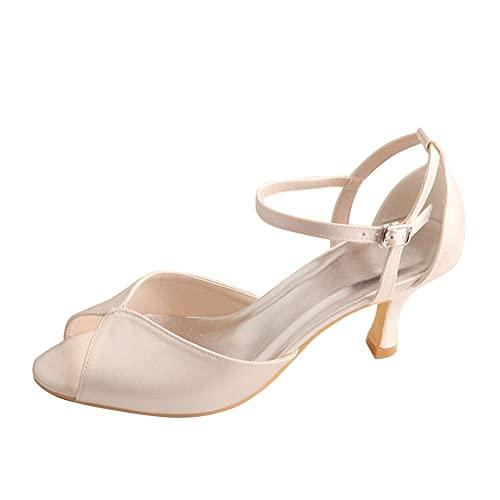 Sandalias De Boda Tacon Bajo 6,5 Cm Peep Toe Satén Zapatos De...