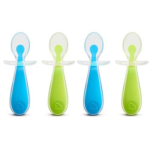 Munchkin Gentle Scoop Baby Silicone Trainer Spoons with Choke Guard, 4pk, Blue/Green