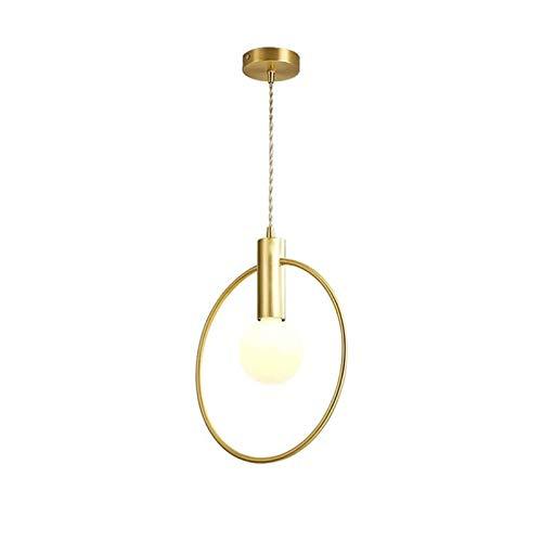 GYZLZZB Forma de anillo creativo Forma E27 Lámpara de araña de alto brillo de cobre Araña ajustable, 30 × 34cm Adecuado for dormitorio, sala de estar, hotel y restaurante Lámparas de decoración de fie
