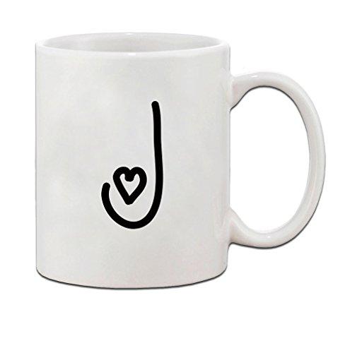 J Love Hearts Initial Monogram Personalized Letter J Ceramic Mug Coffe Cup Holiday Christmas Hanukkah Gift For Men & Women
