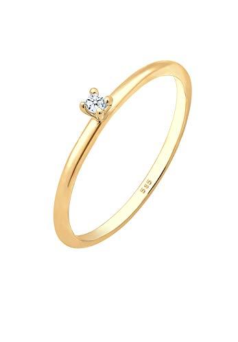 DIAMORE Ring Damen Verlobung Solitär mit Diamant (0.02 ct.) in 585 Gelbgold