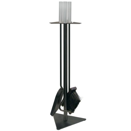KAMINO FLAM Kaminbesteck 337200 für den Innen- und Außenbereich, die Kamingarnitur mit schönen Stahlgriffen, Kaminzubehör inklusive Besen, Schaufel und Schürhaken, die Farbe des Kaminzubehörs ist schwarz, die Gesamtmaße des Kaminständers beträgt ca. 18,5 x 56 x 5,5 cm